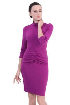 DreamTales - High Neck Ruched Bodycon Dress – Purple