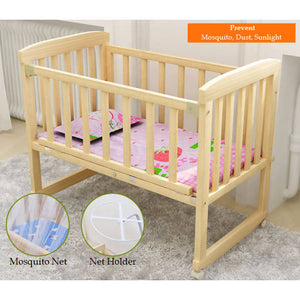OSUKI - Cradle Baby Cot (FREE MOSQUITO NET & HOLDER) Wooden Rocking