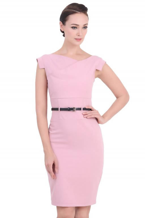 DREAMTALES WARDROBE - Asymmetrical Neckline Pencil Dress – Pink