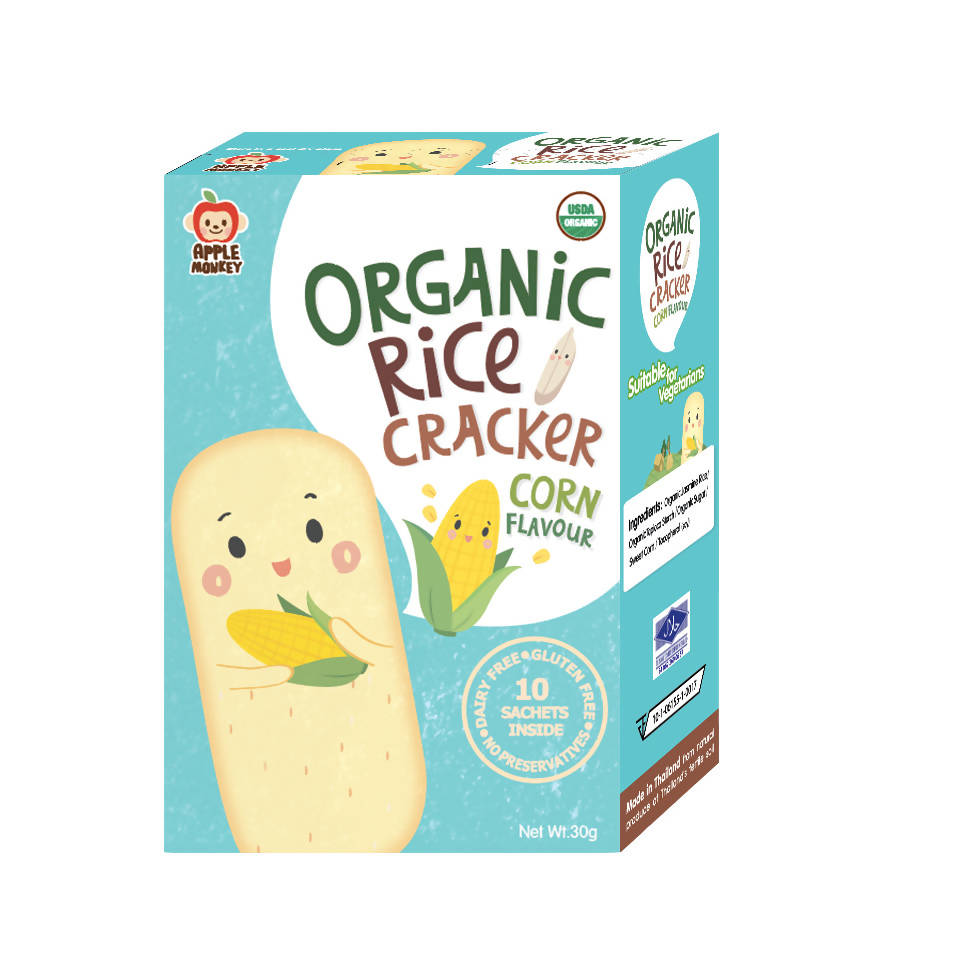 ECOPEAKS - Apple Monkey Organic Rice Cracker Corn - (30g)