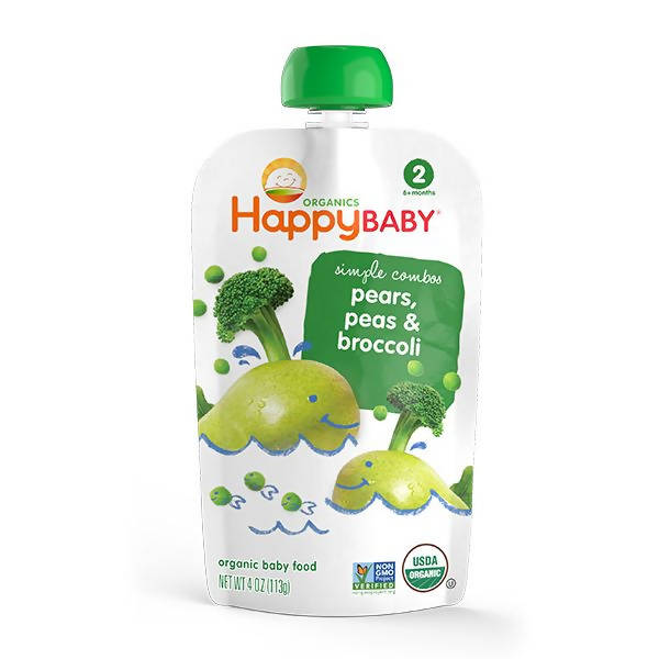 ECOPEAKS - Happy Baby Stage 2 Simple Combo - Peas/Broccoli/Pear (99g)