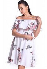 Load image into Gallery viewer, DREAMTALES WARDROBE - Off Shoulder Ruffles Floral Dress – White