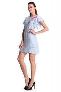 DREAMTALES WARDROBE - Embroidered Lace Flutter Sleeve Shift Dress - Powder Blue