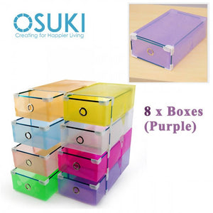 OSUKI - Transparent Storage Box Drawer Type Shoe Rack (8 BOX-PURPLE)