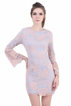 DREAMTALES WARDROBE - Bell Sleeve Crochet Lace Pencil Dress – Pink