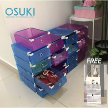 Load image into Gallery viewer, OSUKI - Transparent Storage 16 Box Drawer Type Shoe Rack (8-BLUE & 8-PURPLE)-Free Hanger Storage