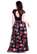 Load image into Gallery viewer, DREAMTALES WARDROBE - Mesh Lace Layering Floral Evening Dress – Black