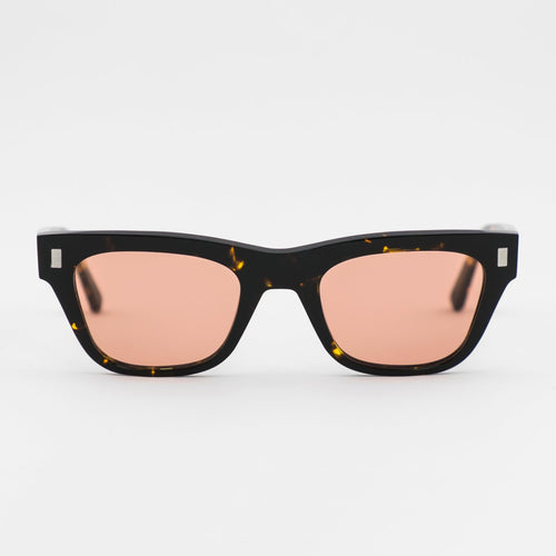 Aki Brown Tortoise - Orange solid lens