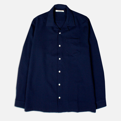 Tain Seersucker Shirt - Midnight