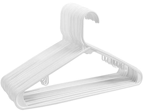 ZOYER Plastic Hangers (60 Pack) Standard Long Lasting Tubular Hangers with Bar Hooks - White