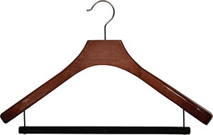 Deluxe Wooden Suit Hanger with Walnut Finish and Velvet Bar, Box of 6 Large 2 Inch Wide Contoured Hangers with Chrome Swivel Hook