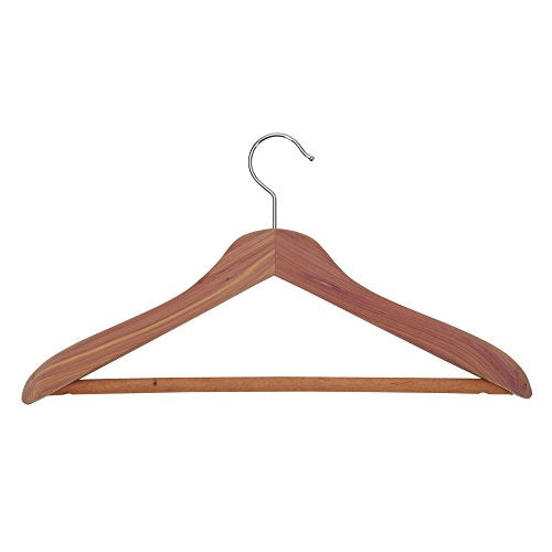 Household Essentials 26507 CedarFresh Deluxe Red Cedar Wood Coat Hanger with Fixed Bar