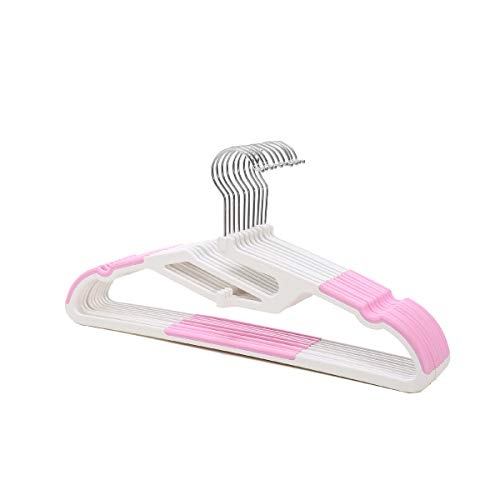 zyca - 40 Pack -Non Slip Attachable U Slide Notches Hanger - Pink