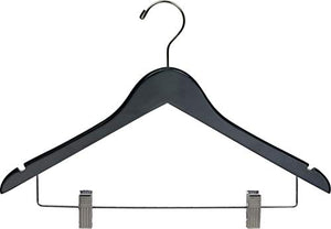 Black Wood Combo Hanger w/ Adjustable Cushion Clips, Box of 50 Space Saving 17 Inch Flat Wooden Hangers w/ Chrome Swivel Hook & Notches for Shirt Jacket or Dress by The Great American Hanger Company