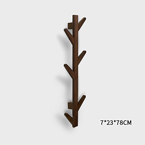 Coat Racks Modern DIY Entryway Wooden Clothing Rack Stand Hat Scarves Corner Hall Umbrella Tree for Bedroom Living Room Office Storage Rack,Coffee,6Hook