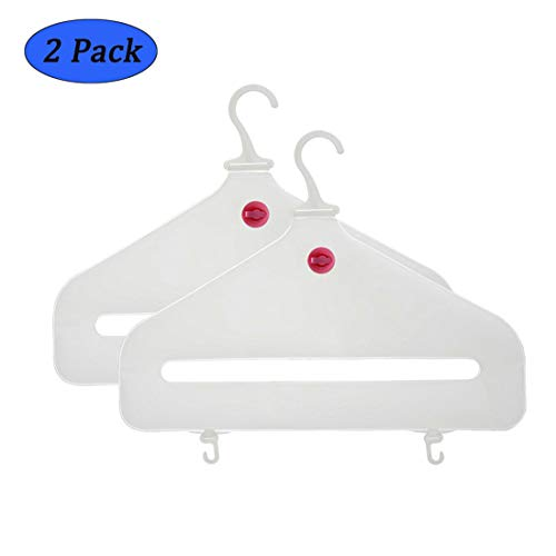 Cobrays Environmental Inflatable Travel Clothes Hanger, Plastic Lightweight Foldable Travel Air Hangers, Outdoor Travel Quick Dry Inflatable Portable Laundry Drying Racks with Hooks- Pack of 2
