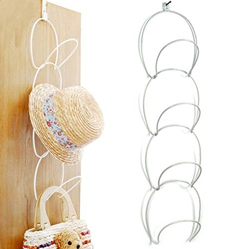 Amyove Creative Multilayer Scarf Baseball Cap Hat Holder Rack Organizer Storage Door Closet Hanger Adult size (white)