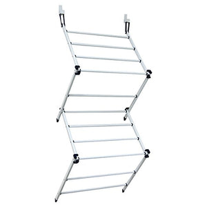 Drynatural Over the Door Organizer Foldable Steel Drying Rack for Towel Garment Closet Rod, White