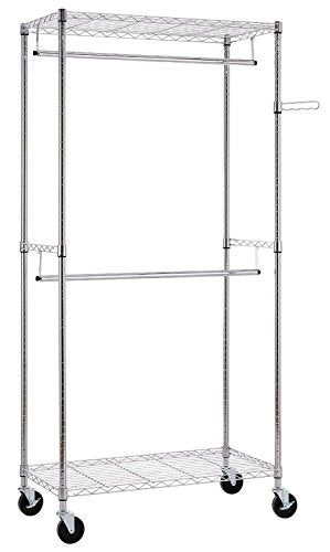 Finnhomy Heavy Duty Rolling Garment Rack Clothes Rack with Double Hanger Rods and Shelves, Portable Closet Organizer with Wheels, 1? Diameter Thicken Steel Tube Hold Up to 300Lbs, Chrome
