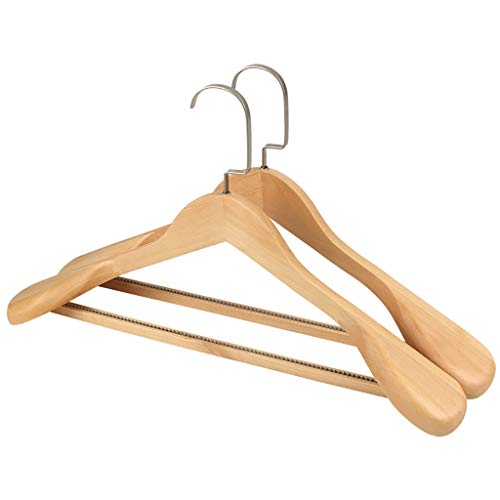 Adult Solid Wood Coat Hanger, Suit Hanger, Jacket Hanger with Sturdy Non-Slip Bar/Smooth Finish/Wide Shoulder-10pack,E,45CM