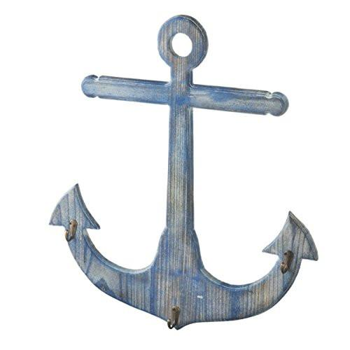 Distressed Nautical Blue Anchor Wall Hook Coat Hanger - 3 Hooks