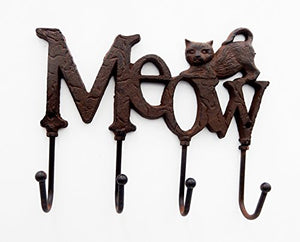 "Comfy Hour 6"" Cast Iron Cat Meow Four Key Hooks Key Chain Wall Hanger"