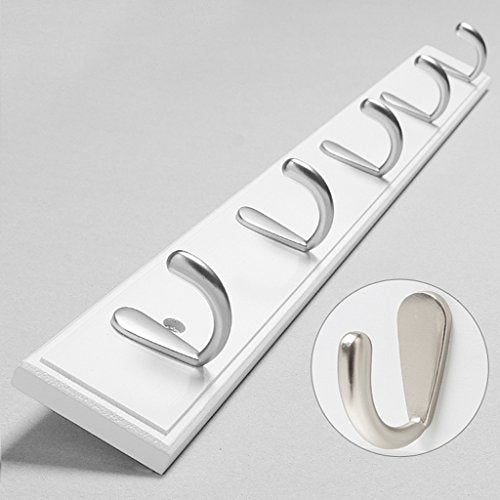 Home Coat Hook Hat Rack Wall Mount Towel Leash Backpack Hanging Hooks Hook Entryway Organization Wall Mount Storage Rack,White,5Hook