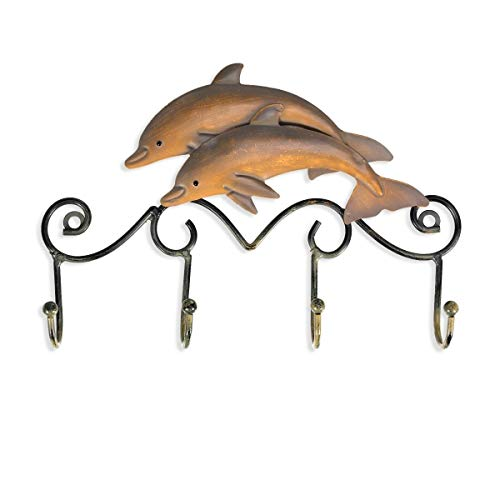 Coat Hat Umbrella Wall Hanger Metal Sea Ocean Dolphin 4 Hooks Clothes Bag Key Holder Hallway Home Room Decoration