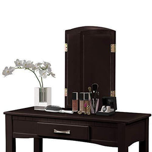 Get harper bright designs vanity table set with mirror cushioned stool dressing table make up vanity dresserespresso