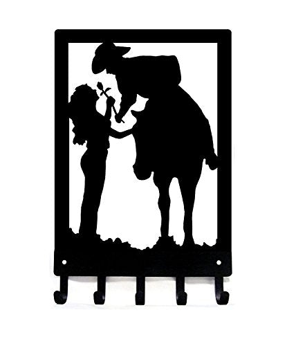 Cowboy Cowgirl & Rose - Romantic Couple - Key Rack