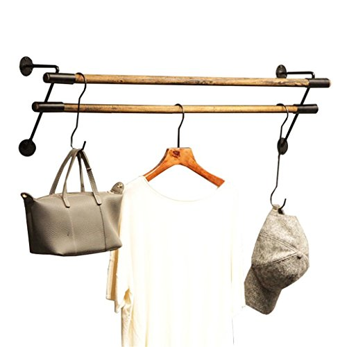 Dika UK Coat Racks Free Standing Wooden Solid Wood Iron Hanger Rod Clothes Display Clothing Coat Rack Shelf for Clothing Store Cloakroom (Size : 120cm)