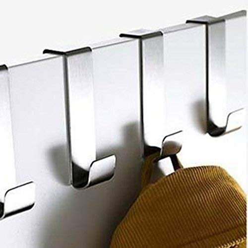Stainless Steel Over Door Hooks Home Kitchen Cupboard Cabinet Towel Coat Hat Bag Clothes Hanger Holder Organizer Rack (8pcs)