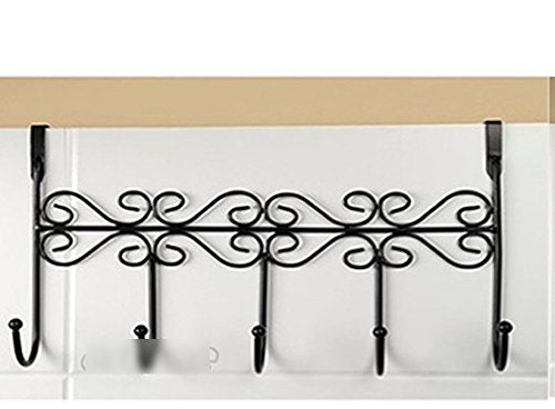 1 pcs Hat Bag Towel Coat Clothes Over Door Bathroom Hanger Hanging Rack Holder 5 Hooks black