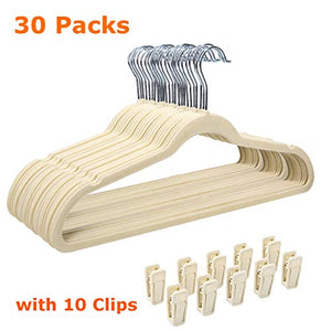 GEMITTO Velvet Suit Hangers, 30Pcs Nonslip Clothes Hanger with Extra 10 Clips, Ultra Thin Heavy Duty & Durable Hangers, 360° Swivel Hook, Closet Space-Saving for Coats Pants Dress Jackets (Beige)