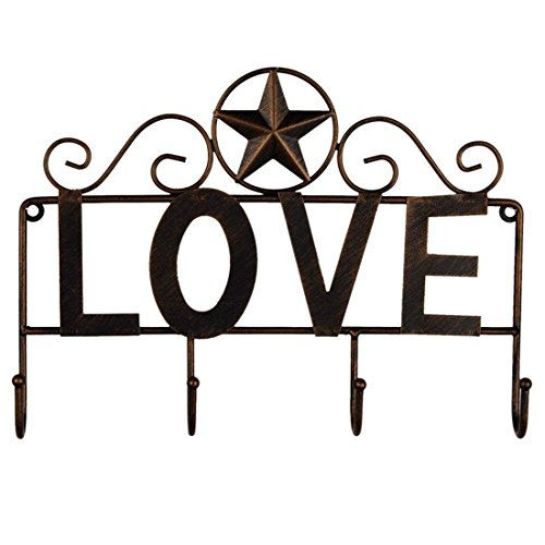 EBEI Metal Barn Star Key Rack Holder Rustic Style Wall Mounted Metal Decorative 12