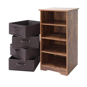 Get iwell wooden dresser storage tower with removable 4 drawer chest storage organizer dresser for small rooms living room bedroom closet hallway rustic brown sng004f