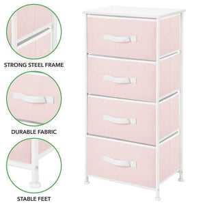 Discover mdesign 4 drawer vertical dresser storage tower sturdy steel frame wood top and easy pull fabric bins multi bin organizer unit for child kids bedroom or nursery light pink white