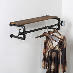 Floating Shelves Clothes racks clothing store hanger display stand retro old do solid water pipe shelves clothing racks wall hangers Industrial wall frame (Size : 130cm)