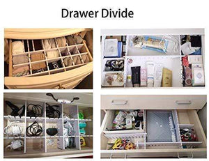 Heavy duty drawer organizers diy grid dividers storage spacer wood plastic multipurpose finishing shelves for wardrobe desk tea table dresser kitchen underwear socks tableware charging line white 5pack