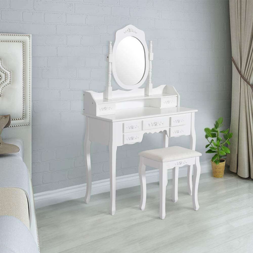 Exclusive kinsuite makeup vanity table set white dressing table stool seat with oval mirror and 7 drawers storage bedroom dresser desk furniture gift for women girl