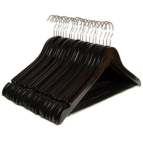 Clutter Mate - Set of 20 - Premium Finished Dark Walnut Wood Hangers with Notches, Non-Slip Pants Bar, Swivel Hook, Wood-Grain Dress Wooden Clothes Hangers for Coats and Pant, Wood Coat Hanger Pack