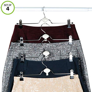Evelots Metal Non Slip Rubber Coated Cascading Pant, Skirt Clip Hangers, Set/4