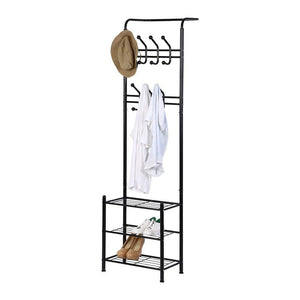 Hall Tree Coat Rack Black Metal Coat Hat Shoe Bench Rack 3-Tier Storage Shelves Free Standing Clothes Stand 18 Hooks Entryway Corner Hallway Garment Organizer