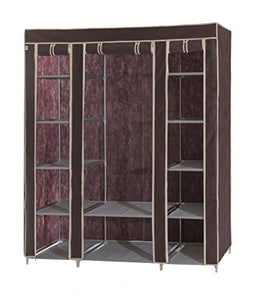 Dream Palace Portable Fabric Wardrobe with Shelves, Covered Closet Rack, with Bonus Sock Organizer, Hanger Pack, Extra Wide 59 (Brown)