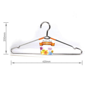 "Amazcafe 10 Pcs 16.5"" Heavy Duty Stainless Steel Clothing Clothes Coat Suit Hangers"