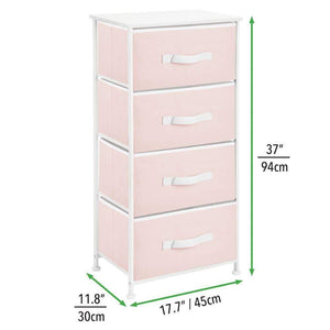 Cheap mdesign 4 drawer vertical dresser storage tower sturdy steel frame wood top and easy pull fabric bins multi bin organizer unit for child kids bedroom or nursery light pink white