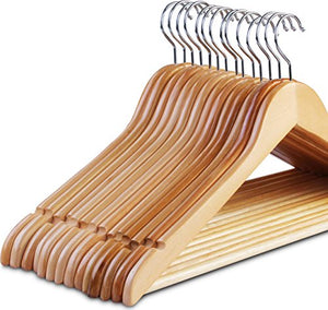 ZOYER Wood Suit Hangers (20 Pack) - Premium Quality Solid Wooden Coat Hangers Strong & Durable Suit Hangers - Natural