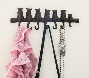 7 Cats Cast Iron Wall Hanger - Decorative Cast Iron Wall Hook Rack - Vintage Design Hanger with 4 Hooks - Wall Mounted