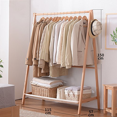 COAT RACK NAN Liang Simple Modern Wood Simple Hanger Floor Bedroom Hanger Cloth Clothing Shelf Multi-Functional Clothing Rack (Color : Natural Wood, Size : XL)