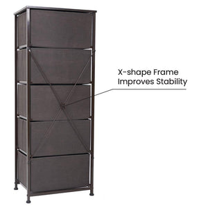 Buy now crestlive products vertical dresser storage tower sturdy steel frame wood top easy pull fabric bins wood handles organizer unit for bedroom hallway entryway closets 5 drawers brown